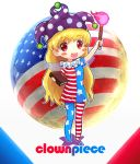 1girl america american_flag american_flag_legwear american_flag_shirt bangs blonde_hair blush_stickers character_name clownpiece e_neko flag_print full_moon hat jester_cap legacy_of_lunatic_kingdom long_hair mismatched_legwear moon open_mouth pantyhose pose red_eyes simple_background smile solo torch touhou very_long_hair white_background