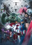 2girls 6+boys absurdres arrow avengers avengers:_age_of_ultron azir black_widow black_widow_(cosplay) bow_(weapon) braum_(league_of_legends) breasts captain_america captain_america_(cosplay) catsuit cleavage colored cosplay dual_wielding gnar_(league_of_legends) greyscale group_shot gun hair_over_one_eye hawkeye_(marvel) hawkeye_(marvel)_(cosplay) highres hulk hulk_(cosplay) iron_man iron_man_(cosplay) jayce kuma_x league_of_legends lucian_(league_of_legends) malzahar marvel master_yi monochrome morgana multiple_boys multiple_girls nick_fury nick_fury_(cosplay) parody quicksilver quicksilver_(cosplay) sarah_fortune scarlet_witch scarlet_witch_(cosplay) spot_color submachine_gun suppressor textless thor_(marvel) thor_(marvel)_(cosplay) ultron ultron_(cosplay) varus vision_(marvel) vision_(marvel)_(cosplay) weapon xerath