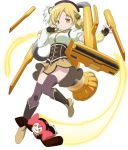 1girl beret blonde_hair boots brown_legwear charlotte_(madoka_magica) corset detached_sleeves drill_hair fingerless_gloves gloves hair_ornament hairpin hat magical_girl mahou_shoujo_madoka_magica mahou_shoujo_madoka_magica_movie official_art pleated_skirt puffy_sleeves skirt smile solo striped striped_legwear thigh-highs tomoe_mami twin_drills twintails vacuum_cleaner vertical-striped_legwear vertical_stripes yellow_eyes