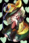 1girl bow green_eyes green_hair hat hat_bow heart heart_of_string highres komaku_juushoku komeiji_koishi open_mouth seiza sitting solo steepled_fingers touhou wide_sleeves