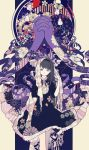 1girl akemi_homura art_nouveau black_hair blanket bourbone dress flat_color flower funeral_dress gears hairband highres homulilly long_hair looking_at_viewer mahou_shoujo_madoka_magica mahou_shoujo_madoka_magica_movie ribbon ribbon-trimmed_clothes ribbon-trimmed_collar ribbon_trim roman_numerals solo spider_lily spoilers tail tail_ribbon teeth violet_eyes witch_(madoka_magica)