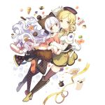 2girls artist_request beret blonde_hair boots brown_legwear bubble bubble_skirt cake candy checkerboard_cookie checkered cheese cookie corset cup dessert detached_sleeves drill_hair fingerless_gloves flower food fruit gloves hair_ornament hairpin hat hug instrument long_hair looking_at_viewer macaron magical_girl mahou_shoujo_madoka_magica mahou_shoujo_madoka_magica_movie momoe_nagisa multicolored_eyes multiple_girls mutual_hug official_art pantyhose pastry petting pleated_skirt polka_dot polka_dot_legwear pom_pom_(clothes) pudding puffy_sleeves ribbon ringed_eyes skirt slice_of_cake smile strawberry strawberry_shortcake striped striped_legwear swiss_cheese tea teacup thigh-highs tomoe_mami transparent_background trumpet twin_drills twintails two_side_up vertical-striped_legwear vertical_stripes whipped_cream white_hair yellow_eyes yellow_ribbon