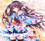 1girl amelie-san_(nogi_takayoshi) bangs black_legwear blush brown_hair cherry_blossoms cowboy_shot floral_print flower frilled_kimono frilled_sleeves frills hair_flower hair_ornament hair_ribbon hairclip japanese_clothes kimono kimono_skirt layered_skirt lolita_fashion long_hair long_sleeves looking_at_viewer nogi_takayoshi obi original outstretched_arm petals red_eyes ribbon sash smile solo standing thigh-highs two_side_up very_long_hair wa_lolita wide_sleeves wind zettai_ryouiki