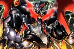 glowing glowing_eyes mazinkaiser mazinkaiser_(robot) mecha no_humans red_wings robot seraphwia super_robot thunder wings