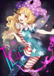 1girl american_flag_legwear american_flag_shirt blonde_hair clownpiece curly_hair hat hillly_(maiwetea) jester_cap legacy_of_lunatic_kingdom mismatched_legwear open_mouth orange_eyes short_sleeves solo tongue tongue_out touhou