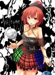 1girl absurdres artist_request bare_shoulders breasts chain cleavage clothes_writing earth_(ornament) hecatia_lapislazuli highres legacy_of_lunatic_kingdom looking_at_viewer moon_(ornament) red_eyes redhead shirt short_hair sketch solo touhou