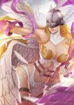 1girl angel_wings angewomon armpits bare_shoulders belt breasts cleavage covered_eyes digimon helmet_over_eyes hips magion02 navel o-ring signature smile solo watermark web_address wings