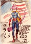 1girl american_flag blonde_hair captain_america captain_america_(cosplay) clownpiece hat highres jester_cap long_hair looking_at_viewer marvel red_eyes roh solo star torch touhou traditional_media very_long_hair