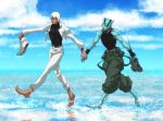 2boys barefoot dark_skin holding holding_shoes kekkai_sensen multiple_boys reflection shoes shoes_removed sky suiren1 walking walking_on_water white_hair zap_renfro zed_o'_brien