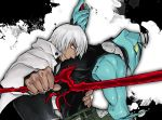 2boys dark_skin kekkai_sensen multiple_boys suiren1 sword weapon white_hair zap_renfro zed_o'_brien