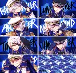 6+boys add_(elsword) adjusting_clothes adjusting_hat arc_tracer_(elsword) black_sclera blue_background blue_gloves diabolic_esper_(elsword) elsword epaulettes eyepatch facial_mark gloves hat hat_removed headwear_removed long_hair lunatic_psyker_(elsword) male_focus mastermind_(elsword) messy_hair multiple_boys multiple_persona myoya pointy_ears ponytail popped_collar psychic_tracer_(elsword) tattoo time_tracer_(elsword) tracer_(elsword) violet_eyes white_hair