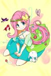 angel_bunny commentary_request fluttershy highres kumo_ni_notte my_little_pony my_little_pony_friendship_is_magic personification