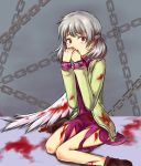 1girl beikeice blood blood_stain bloody_clothes bloody_wings chain commentary_request covering_mouth dress jacket kishin_sagume red_eyes short_hair silver_hair single_wing tears touhou wings