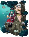 2girls :d akuto alcohol beer bikini blue_eyes blush blush_stickers bob_cut boots bubble dress fish front_ponytail green_hair hair_ribbon hairband kagiyama_hina konpaku_youmu multiple_girls open_mouth ribbon scabbard sheath sheathed smile stretch surreal swimsuit sword touhou tree underwater weapon white_hair