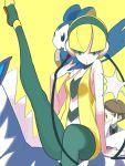 1boy 1girl blonde_hair blue_eyes brown_eyes brown_hair emolga kamitsure_(pokemon) pantyhose pokemon pokemon_(creature) pokemon_(game) pokemon_bw yuuki_(irodo_rhythm) zebstrika