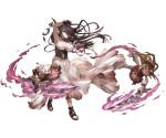1girl bandaged_arm bandages bangs black_gloves breasts cleavage crescent danua doll dress fingerless_gloves floating_hair frown full_body gloves granblue_fantasy hair_between_eyes high_heels horn_ornament horns jewelry large_breasts long_hair minaba_hideo necklace official_art pointy_ears red_eyes solo sword torn_clothes torn_dress transparent_background triangle_mouth weapon white_dress