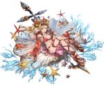1girl :d bangs bikini blonde_hair blue_eyes bracelet breasts cleavage collarbone crossed_legs flower full_body granblue_fantasy hair_flower hair_intakes hair_ornament high_heels innertube jewelry leaf long_hair lying minaba_hideo official_art on_back open_mouth polearm red_bikini red_legwear seashell shell smile solo spear starfish sunglasses sunglasses_on_head swimsuit thigh-highs transparent_background v water weapon zeta_(granblue_fantasy)