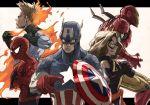 1girl 4boys captain_america carol_danvers horikoshi_kouhei iron_man johnny_storm marvel ms._marvel multiple_boys spider-man steve_rogers superhero tony_stark