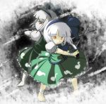 2girls back-to-back bandages barefoot hair_ribbon hairband katana konpaku_youmu konpaku_youmu_(ghost) mimiru_(mimill) multiple_girls open_mouth red_eyes ribbon scarlet_weather_rhapsody short_hair silver_hair skirt spell_card sword touhou weapon