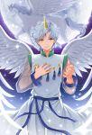 angel_wings bishoujo_senshi_sailor_moon forehead_jewel grey_hair helios_(sailor_moon) horn moon orange_eyes pegasus_(sailor_moon) shainea sky smile sparkle star_(sky) starry_sky wings