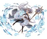 1girl :d bare_shoulders black_legwear blue_eyes bridal_gauntlets crystal dress floating_hair granblue_fantasy halterneck holding lavender_hair lily_(granblue_fantasy) long_hair magic minaba_hideo miniskirt open_mouth pointy_ears skirt smile snowflakes solo staff thigh-highs tiara toeless_legwear transparent_background white_dress zettai_ryouiki