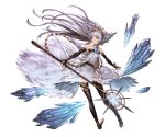 1girl bare_shoulders black_legwear blue_eyes bridal_gauntlets dress floating_hair granblue_fantasy halterneck holding ice lavender_hair lily_(granblue_fantasy) long_hair minaba_hideo miniskirt pointy_ears skirt smile solo staff thigh-highs tiara toeless_legwear transparent_background white_dress zettai_ryouiki