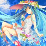 1girl aqua_eyes aqua_hair dress drinking_straw hat hatsune_miku high_heels long_hair moegi0926 smile solo twintails very_long_hair vocaloid white_dress
