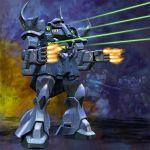 battle bazooka dom emblem energy_beam energy_gun explosion firing gouf gun gundam highres igunuk machine_gun mecha mobile_suit_gundam realistic redesign science_fiction spikes weapon zeon