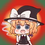 1girl batta_(ijigen_debris) blonde_hair blue_eyes bow chibi drugged hair_bow hat hat_bow kirisame_marisa marijuana open_mouth solo touhou witch_hat