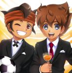 2boys ball brown_hair crossover drinking_glass endou_mamoru formal grin headband highres inazuma_eleven inazuma_eleven_(series) inazuma_eleven_go looking_at_viewer male_focus matsukaze_tenma matsumoto_achi multiple_boys necktie one_eye_closed open_mouth red_necktie short_hair smile soccer_ball telstar time_paradox