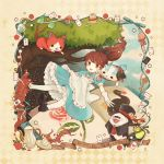 1girl absurdres alice_(wonderland) alice_(wonderland)_(cosplay) alice_in_wonderland bird black_tea blue_sky book brown_eyes brown_hair candy card cat checkerboard_cookie clouds cookie copyright_name cosplay cup cupcake dress drink_me eat_me english flamingo flower food ghost gloves hat highres jibanyan kanacho kodama_fumika koma-san lollipop long_hair macaron mad_hatter mad_hatter_(cosplay) mary_janes multiple_tails mushroom notched_ear one_eye_closed open_mouth outdoors pantyhose playing_card ponytail puffy_short_sleeves puffy_sleeves purple_lips rose saucer shoes short_sleeves sky swirl_lollipop tail tea teacup teapot top_hat tree two_tails whis whisper_(youkai_watch) white_gloves white_legwear white_rabbit white_rabbit_(cosplay) youkai youkai_watch