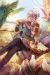 1boy bare_shoulders beach bird blue_eyes boots chain_chronicle chair crossed_legs fingerless_gloves gabuccc gloves guitar highres instrument jewelry necklace pillow ring seagull sheet_music shirtless sitting solo sunlight white_hair