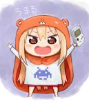 10s 1girl :d angry arms_up blonde_hair blush brown_eyes character_name chibi dogakobo doma_umaru game_boy hamster_costume handheld_game_console himouto!_umaru-chan hiro1984 hood long_hair looking_at_viewer nintendo open_mouth shueisha smile solo space_invaders tetris tokyo_mx