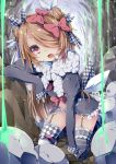 1girl bow cave chiyonekoko fang garter_straps hair_bow hand_on_own_knee kneeling light_brown_hair long_hair looking_at_viewer one_eye_covered open_mouth original pile_of_skulls shingoku_no_valhalla_gate skull solo thigh-highs violet_eyes