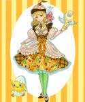 1girl apple_slice bird blonde_hair bow cherry chick dress egg eggshell_hat food food_as_clothes food_themed_clothes fruit ginshima_jill green_legwear hat highres kiwi looking_at_viewer orange_slice original personification pocketland pudding skirt_hold smile solo strawberry striped striped_background yellow_eyes