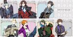 6+boys bespectacled blush book cape command_spell dagger emiya_kiritsugu fate/zero fate_(series) formal glasses gucce222 highres japanese_clothes kayneth_archibald_el-melloi kimono kotomine_kirei matou_kariya multiple_boys newspaper stole suit toosaka_tokiomi uryuu_ryuunosuke vest waistcoat waver_velvet weapon