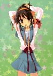 1girl absurdres blush brown_eyes brown_hair hairband highres itou_noiji ribbon short_hair star suzumiya_haruhi suzumiya_haruhi_no_yuuutsu