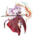 hair_bow hair_ornament highres long_hair open_mouth pfalz ponytail purple_hair red_eyes solo sword touhou transparent_background tsurime watatsuki_no_yorihime weapon