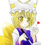:3 amber_eyes blonde_hair blush foxgirl game kitsunemimi kyubimimi short_hair touhou yakumo_ran