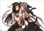 amber_eyes bell black_hair brown_hair collar dress gothic grey_hair long_hair nekomimi red_eyes silver_hair skirt white_hair