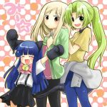 amber_eyes bell blonde_hair blue_hair blush bow flat_chest gloves green_eyes green_hair higurashi_no_naku_koro_ni loli long_hair mion_sonozaki miyo_takano nekomimi pony_tail rika_furude skirt white_shirt