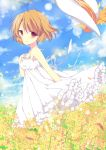 1girl brown_hair clannad dress furukawa_nagisa hat hat_removed headwear_removed highres mizu_(nonbiri) red_eyes short_hair
