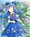 bow cirno drooling lying on_back saliva shiroaisa short_hair sleeping touhou traditional_media watercolor watercolor_(medium) wings