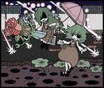 ascot closed_umbrella danmaku dual_persona flower genkidaun green_hair kazami_yuuka kazami_yuuka_(pc-98) laser lily_pad long_hair mary_janes multiple_girls parasol plaid plaid_pants plaid_skirt plaid_vest shaded_face shoes short_hair skirt skirt_set touhou touhou_(pc-98) umbrella unmoving_pattern