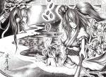 azelye coin flower graphite_(medium) hane_(azelye) monochrome multiple_girls onozuka_komachi river rod_of_remorse scythe shikieiki_yamaxanadu touhou traditional_media