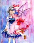 bat_wings blue_hair braid hat izayoi_sakuya knife maid millipen millipen_(medium) multiple_girls remilia_scarlet ribbon shiroaisa short_hair silver_hair touhou traditional_media twin_braids watercolor watercolor_(medium) wings