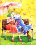 alice_margatroid ascot bench blonde_hair boots green_hair hairband incipient_kiss kazami_yuuka mary_janes millipen millipen_(medium) multiple_girls parasol plaid plaid_skirt plaid_vest red_eyes shiroaisa shoes short_hair skirt skirt_set touhou traditional_media umbrella watercolor watercolor_(medium) yuri