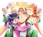 1girl 2boys aouta_tomato bandana black_hair blonde_hair caesar_anthonio_zeppeli cheek_press facial_mark fingerless_gloves gloves green_eyes green_jacket hand_puppet headband jojo_no_kimyou_na_bouken joseph_joestar_(young) multiple_boys puppet scarf suzi_quatro wink