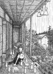 chen monochrome rain shouji sliding_doors teruterubouzu too_many_cats touhou traditional_media veranda yotsuboshi-imai