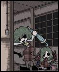 ascot beating closed_umbrella dual_persona flower genkidaun green_hair kazami_yuuka kazami_yuuka_(pc-98) multiple_girls no_eyes parasol plaid plaid_pants plaid_skirt plaid_vest shaded_face short_hair skirt skirt_set smirk solid_circle_eyes touhou touhou_(pc-98) umbrella